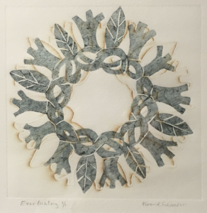"Karen Schroeder, ""Everlasting"", woodcut --- People's Choice Third Place, Santa Barbara Printmakers Fall Exhibition"